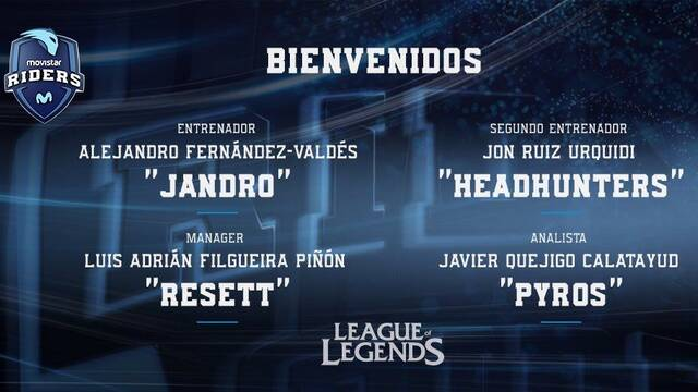 Movistar Riders presenta al cuerpo técnico de su equipo de League of Legends