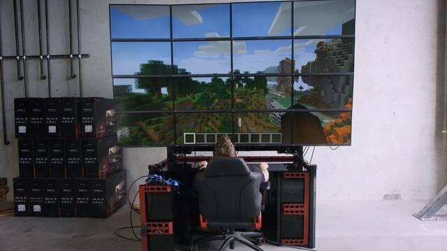 Asi se juega a videojuegos con 16 monitores 4K a la vez