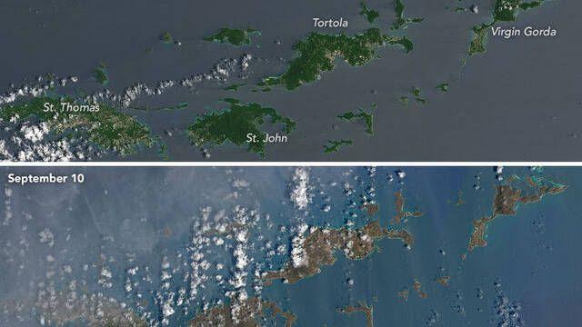 La NASA muestra el antes y el después del Caribe tras el paso de Irma