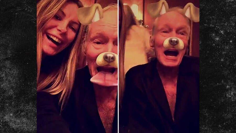 Hugh Hefner en Snapchat con Crystal, su actual esposa, y el famoso filtro del perrito.