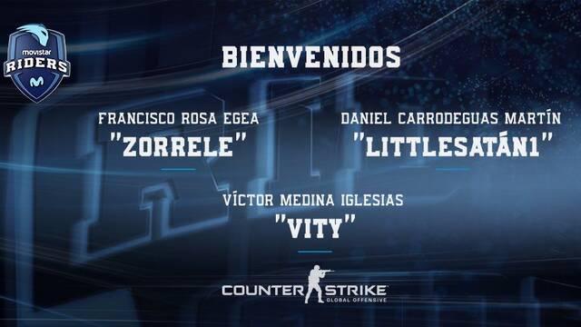 Zorrele, Vity y Littlesatán1 se incorporan al equipo de CS:GO de Movistar Riders
