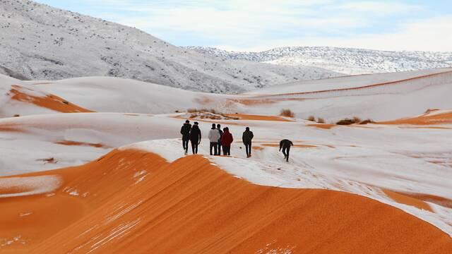 Las arenas del Sáhara amanecen nevadas y dejan estas bellas imágenes
