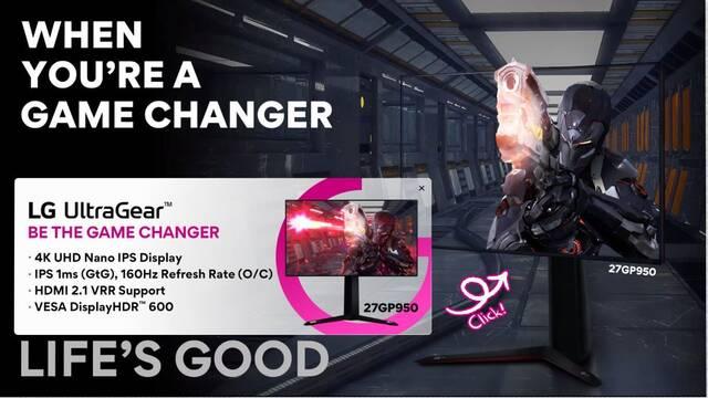 CES 2021: LG 27GP950 Ultragear, el nuevo monitor 4K de LG con 27 pulgadas y 160 Hz