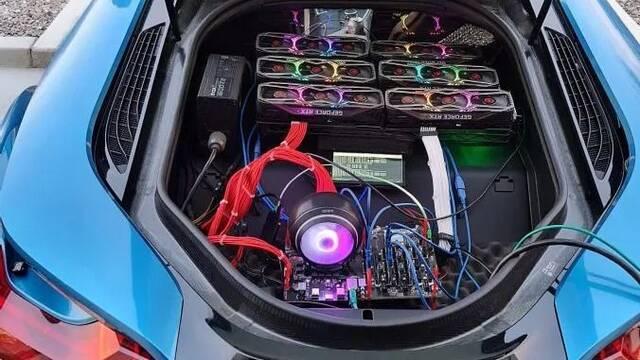 Crean una mina de criptomonedas con seis NVIDIA RTX 3080 en el maletero de un BMW