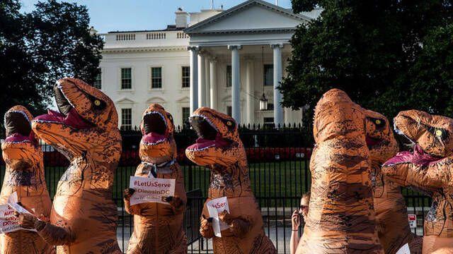 Un T-Rex llega a la Casa Blanca para celebrar Halloween
