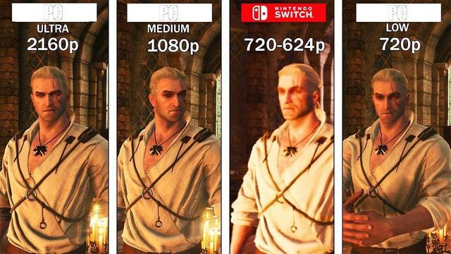 Comparan The Witcher 3 en Switch con la versión de PC en bajo, medio y ultra