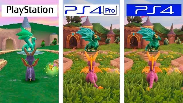 Comparan los gráficos de Spyro en PSX, PS4 y PS4 Pro