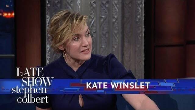 Kate Winslet reimagina el final de Titanic con Stephen Colbert