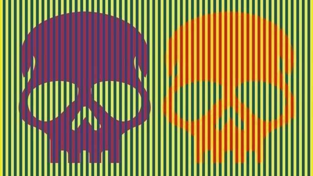 Así es la ilusión óptica de Munker-White y sus calaveras de colores