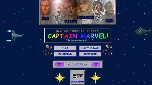 Así es la web retro de Marvel para promocionar Capitana Marvel