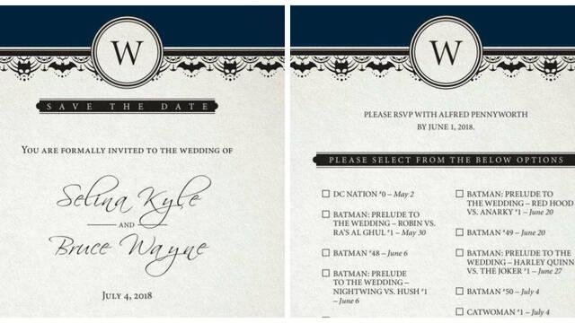 DC Comics nos envía la invitación de la boda de Batman y Catwoman