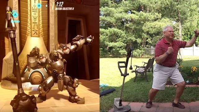 La imitación de este padre de los movimientos especiales de los héroes de Overwatch te va a hacer reír