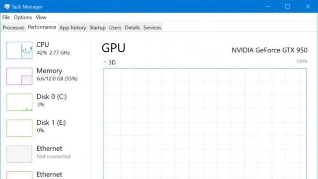 Windows 10 mostrará la información de la GPU en el gestor de tareas