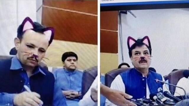 Facebook: Un político pakistaní acaba con el filtro del gatito puesto