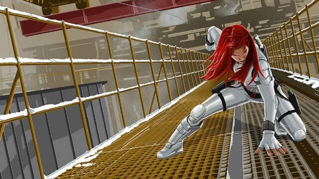 Viuda Negra realiza un espectacular aterrizaje de superhéroe en el nuevo póster