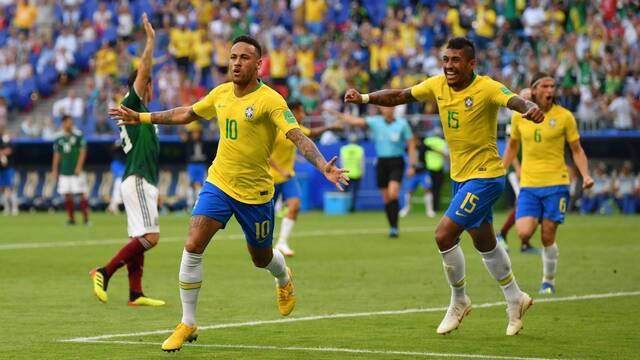 Neymar celebra un gol en el Mundial de Rusia 2018 haciendo un guiño a CS:GO
