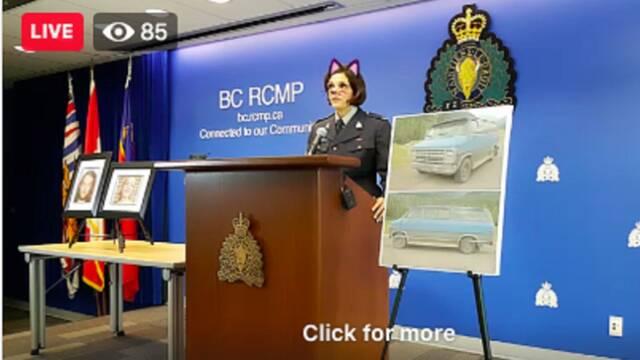 La policía de Canadá da una rueda de prensa con el filtro gato activado