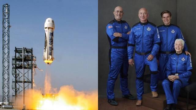 Jeff Bezos vuela al espacio con el primer cohete tripulado de Blue Origin
