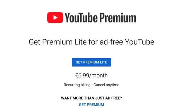YouTube Premium Lite llega a Europa por 6,99 € aunque aún no está disponible en España
