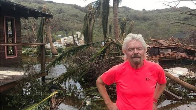 La isla privada de Richard Branson, devastada por el huracán Irma