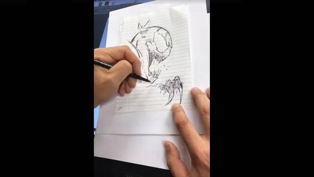 Todd McFarlane realiza un boceto de Venom