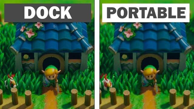 Comparativa gráfica: Zelda Link's Awakening en Dock y en modo portátil en Switch