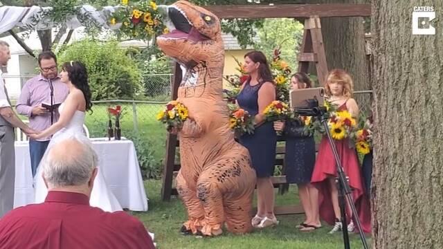 Acude a la boda de su hermana disfrazada de T-Rex