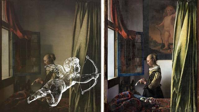 Un cuadro de Vermeer escondía un enorme Cupido en la pared