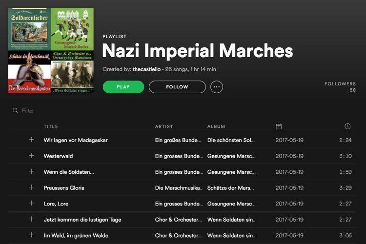 Spotify listas nazis